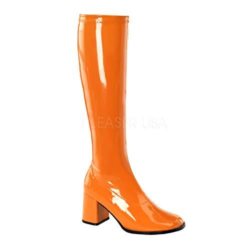Funtasma by Pleaser Women's Gogo-300 Boot,Orange Stretch Patent,8 ()