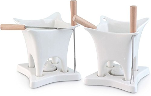 Swissmar F66202 Harmony 10 Piece Dual Fondue and Butter Warmer Set, 10Piece, White (Fondue Dual)