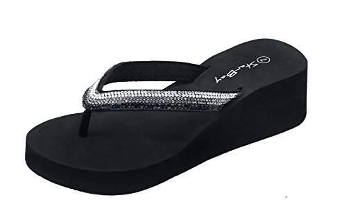 The Bay Womens Fashion Wedge Sandals Thongs Flip Flop W/Stones Black 2306 11 B(M) US