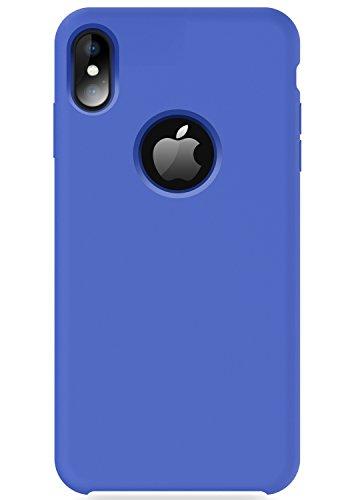 iPhone X Case, TORRAS [Love Series] iPhone X Liquid Silicone Gel Rubber Case with Soft Microfiber Cloth Cushion for Apple iPhone X [Show Apple Logo], Blue Liquid Series