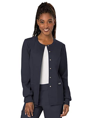 Cherokee Women's Snap Front Warm-up Jacket, Pewter, Medium