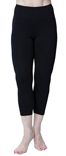 American Fitness Couture Womens Essential Workout Opaque High Waist Capri Yoga Legging, Black Md