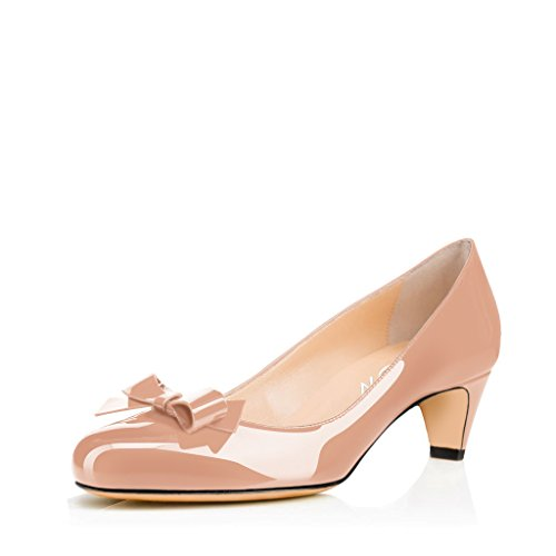 YDN Women Closed Round Toe Pumps Low Heels Shoes with Bowknot for Work Office Ladies Nude 9