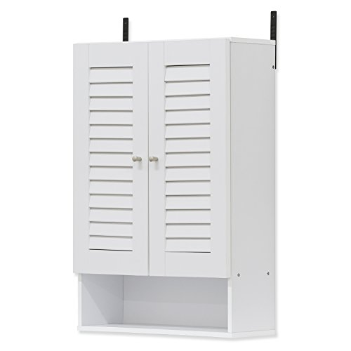 FURINNO Indo Double Door Wall Cabinet, 19.7 Inch, White (12 Storage Cabinet Deep)