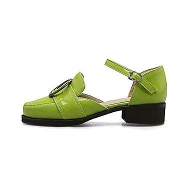 LvYuan Mujer Sandalias Semicuero Verano Hebilla Tacón Bajo Negro Gris Verde 2'5 - 4'5 cms Green