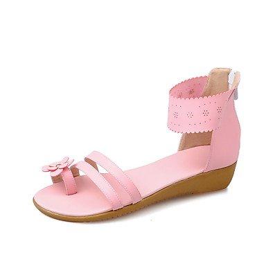 LvYuan Tacón Plano-Confort Suelas con luz-Sandalias-Exterior Vestido Informal-PU-Azul Rosa Blanco Pink