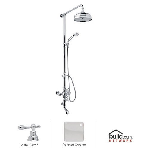- Rohl AC414L-APC Cisal Shower System with Exposed Thermostatic Valve, Shower Head, Polished Chrome