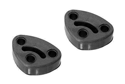 CarXX 3 Hole Exhaust Hanger Bushing Muffler Insulator Shock Absorbent Mount Bracket High Density Rubber 10mm Hole (64mm x 42mm x 19mm) Universal Fit - Pack of 2