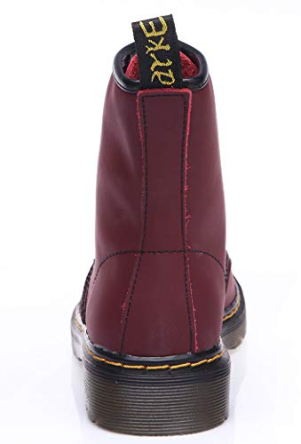 Cherry Round Toe Lace Boots Boots Velvet Up Women's Red Booties Leather Boots Unisex Martens Ankle Combat SUNETEDANCE Flat q8zZw