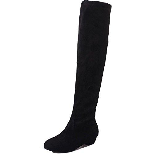 KEERADS Overknee Stiefel Schwarz Flach Boots Stiefelette Plateau mit absatz Overknees Schuhe Herbst Stiefeletten Schwarz