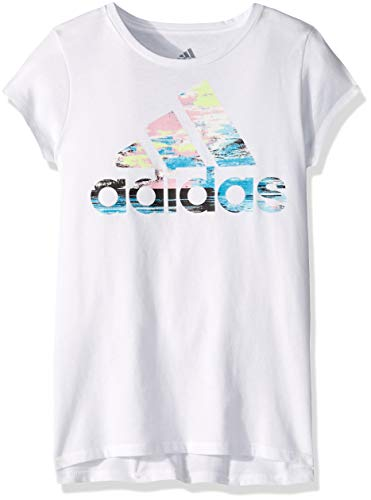 adidas Girl Big Short Sleeve Graphic Tee T-Shirt, Vented White, M (10/12) ()