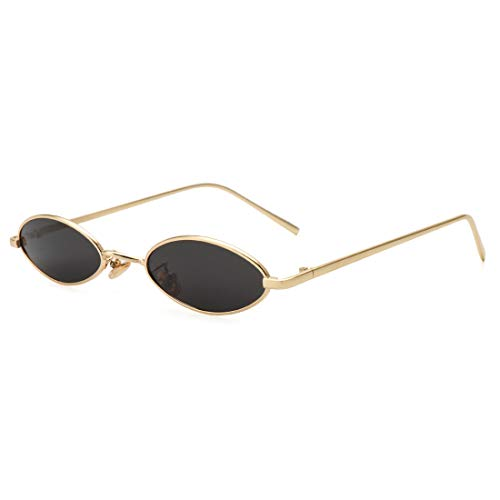 ROYAL GIRL Vintage Oval Sunglasses For Women Men Unisex Fashion Small Metal Frames Shades ()
