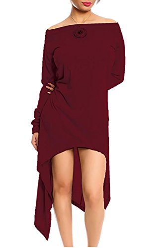 Jaycargogo Asymmetrical Swing Hem Wine Red Women Off Long Sleeve Dress Shoulder HHXrxq