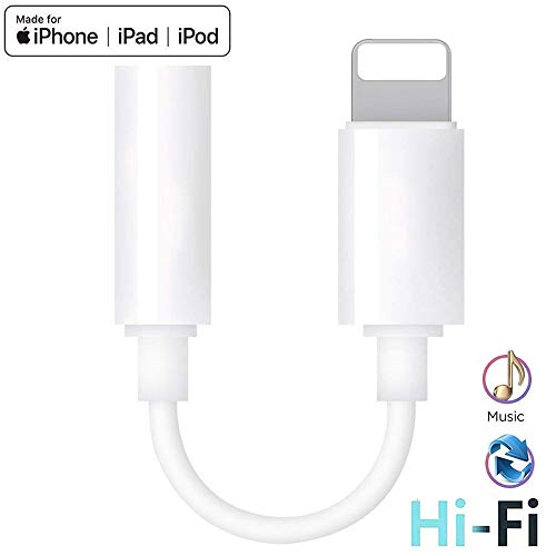 for iPhone Headphone Adapter to 3.5 mm Headphone Jack Adapter for iPhone 8/8 Plus/X /7/7 Plus/XR/Xs Max Audio Jack Aux Earphone Splitter Earbuds Dongle Connector Adapter Support All iOS System - White