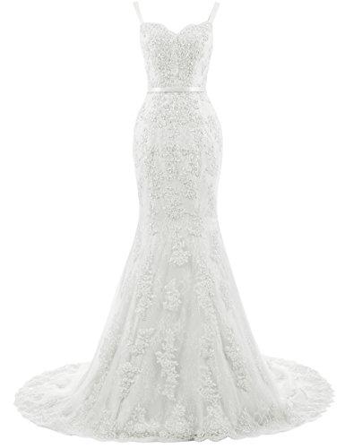 Brautkleider Meerjungfrau Abendkleider Träger Lang Damen Elfenbein mit Ballkleider Hochzeitskleider Spitze wpxIqcO