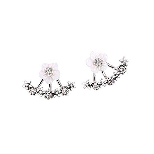Women Crystal Lotus Flower Earrings Jackets For Women Girls Simple Chic Ear Stud Earrings (Silver)