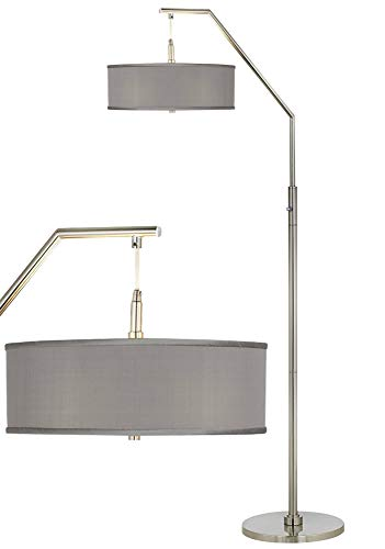 Modern Arc Floor Lamp Brushed Nickel Gray Faux Silk Drum