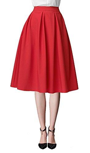 Urban GoCo Mujeres Vintage Falda Midi Plisada A-Line Con Bolsillos Faldas Larga Rojo