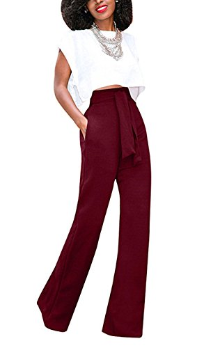 bd03a0be02356 LKOUS Women s Stretchy High waisted Wide Leg Button-down Pants (XL ...