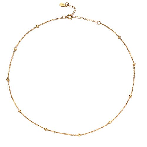 Choker Necklace,18k Gold Satellite Chain Choker Pendant Necklace Dainty Jewelry for Women 16(18k Gold plated)