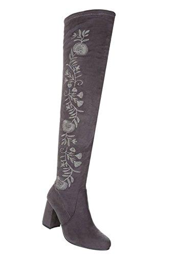 Schuhcity24 Damen Schuhe Overknee Stiefel Moderne Grau