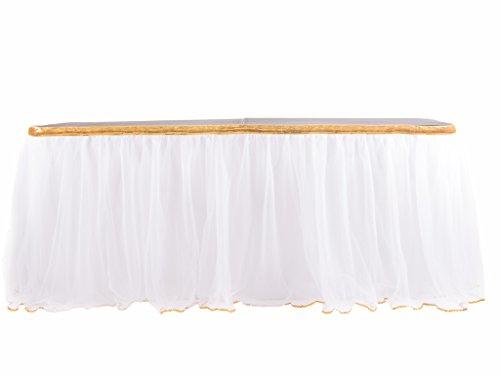HB HBB MAGIC 9 ft White Tulle Table Skirt for Rectangle or Round Table Tutu Table Skirt for Bridal Shower Birthdays Wedding Baby Shower Party -