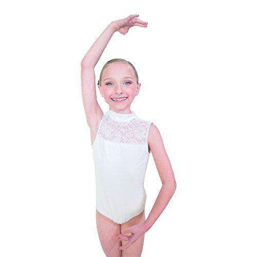 HDW DANCE Girls Tank Ballet Leotard Cotton/Lycra with Lace Turtle Neck (L, White) ...