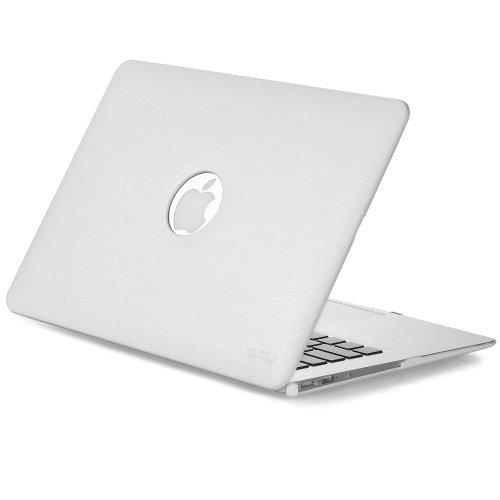 Kuzy - AIR 13-inch WHITE Leather Hard Case for MacBook Air 1