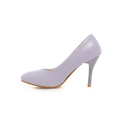 AllhqFashion Womens Pull-On Pointed Closed Toe High-Heels PU Solid Pumps-Shoes Purple jIxwHB8