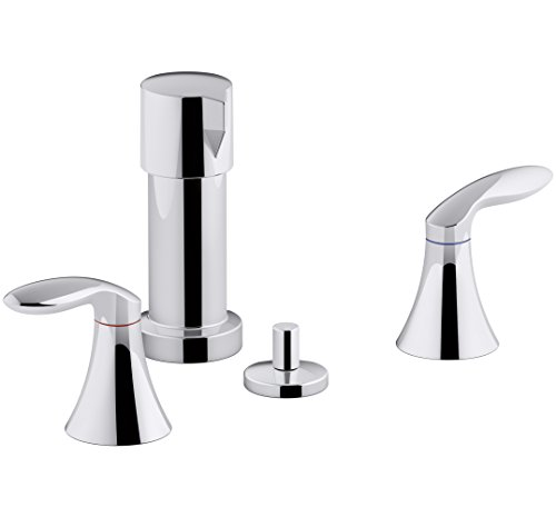 KOHLER K-15286-4RA-CP Coralais Vertical Spray Bidet Faucet with Lever Handles, Polished Chrome