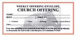 Offering Envelope - Weekly Offering/Church Offering