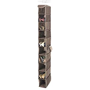 Whitmor Hanging Shoe Shelves - 10 Section - Closet Organizer - Java