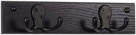 Wooden Mallet 2 Hook Coat Rack Black Hooks Black