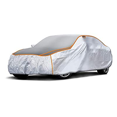 Sojoy All-Weather Hail/Rain/Snow/Heat,Waterproof/Dustproof/Scratchproof UV ProtectionThick Multi-Layered Car Cover w/Anti-Hail Damage for Sedan, Coupe, Hatchback in Full Cover Universal Size (XXL)