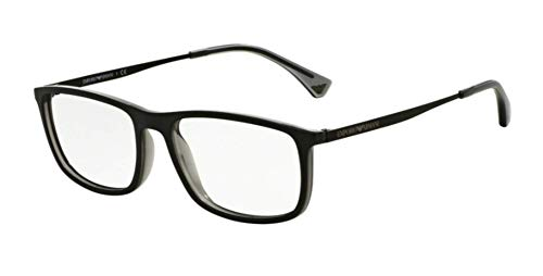 Emporio Armani Glasses Frames - Emporio Armani EA3070 Eyeglass Frames 5468 - Matte Black/grey Transp 54mm