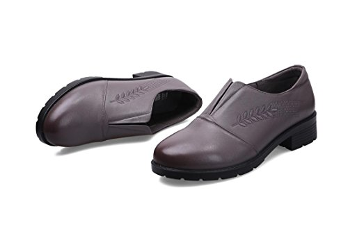 Loafer Leisure Comfort Genuino uk Di 5 Heels Nvxie Antiscivolo 4 Pattini Pelle 36 Soft Del Spring Tallone Singoli Eur Party Nero Work New Low Cuoio Fall Bottomless Marrone eur39uk665 Gray Donne 3 wF0X0vY