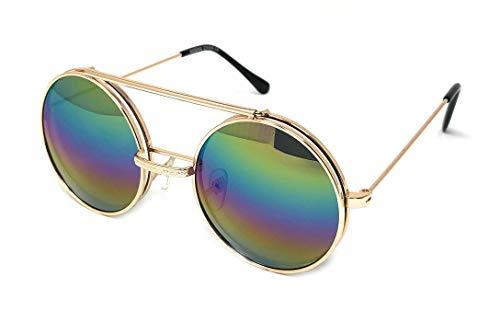 WebDeals - Round Flip Up Steampunk Metal Django Sunglasses… (Gold, Rainbow Spectrum)