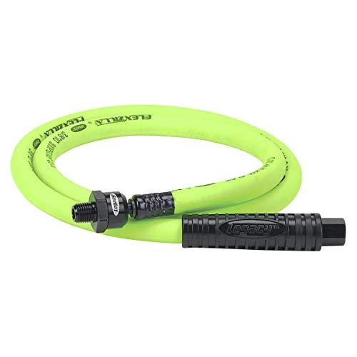 Flexzilla Ball Swivel Whip Air Hose, 3/8 in. x 4 ft. (1/4 in. MNPT Ball Swivel x 1/4 in. FNPT Ends), Heavy Duty, Lightweight, Hybrid, ZillaGreen - HFZ3804YW2B