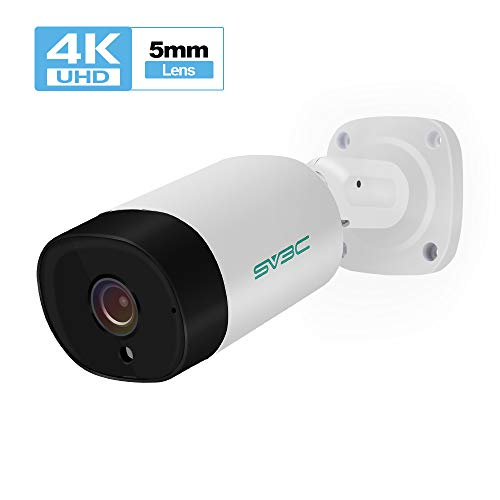 Audio SV3C UltraHD 4K 8MP Outdoor Bullet POE IP Camera, 3840×2160, 5mm Lens, H.265 Video Compression, Heavy Duty Housing IP67 Waterproof, Onvif, White Series A