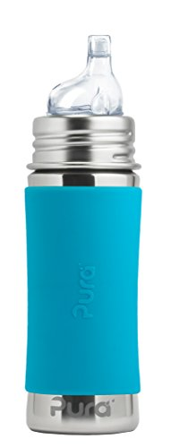 Pura Kiki 11 oz / 325 ml Stainless Steel Sippy Cup with Silicone XL Sipper Spout & Sleeve, Aqua (Plastic Free, NonToxic Certified, BPA Free) by Pura