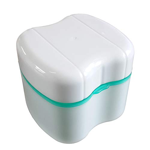 Gus Craft New and Improved! 2016 Version of Caribbean Green Denture Box with Specially Designed Holder for Rinse Basket, Great for Dental Care, Easy to Open, Store and Retrieve (Caribbean Green)