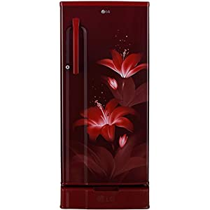 LG 188 L 3 Star Direct-Cool Single Door Refrigerator (GL-D191KRGD, Ruby Glow, Base stand with drawer)