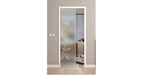 Puerta corredera desplegable de cristal satinado con diseño 90 x 210: Amazon.es: Bricolaje y herramientas