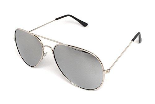 My Shades - Classic Aviator Sunglasses Silver Mirror Color Mirror Retro Metal Teardrop Fits Teens Adults Men Women