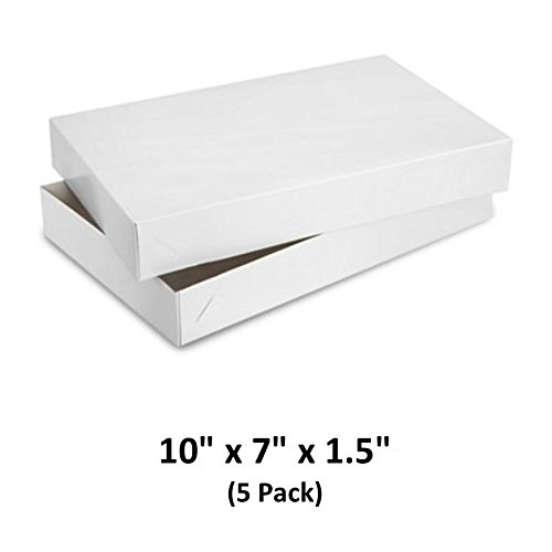 - White Gloss Cardboard Apparel Decorative Gift Boxes with Lids for Clothing and Gifts, 10x7x1.5 (5 Pack) | MagicWater Supply