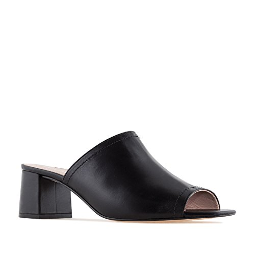 Andres Machado Amaya Mules in Suede Leather/Nappa Leather.Petite & Large Sizes.Made in Spain Black Nappa Leather