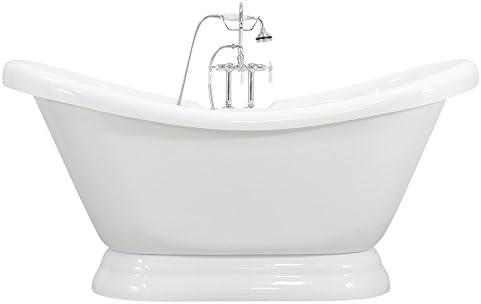 Baths of Distinction 73 Double Slipper CoreAcryl Acrylic Pedestal Tub Faucet Pack