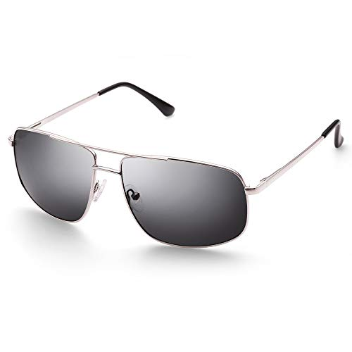 Rectangular Polarized Sunglasses for Men, Classic Military Style, UV400 Protection, Lightweight, Grey Lens Silver Frame, with Case