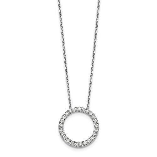 14K White Gold Diamond Circle Pendant Necklace