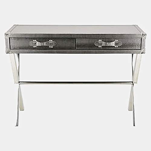 Metal Console Table with Faux Leather Top - Rectangular Console Table with 2 Drawers - Silver